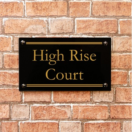 Black Granite House Sign 355mm x 200mm