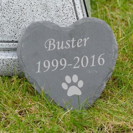 Dog Memorial Slate Heart