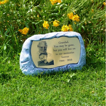 Photo Engraved Garden Memorial Stone