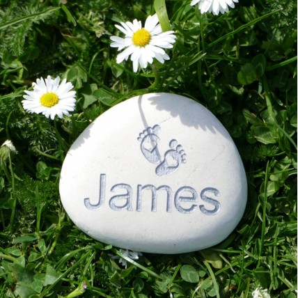 Personalised Baby Feet Name Pebble