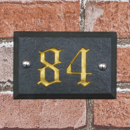 Bevelled Edge Slate House Number 150mm x 100mm