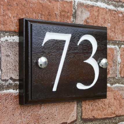 Solid Mahogany Wood House Number 152mm x 115mm